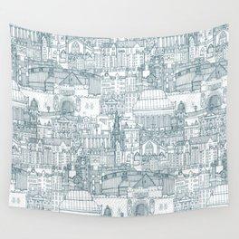 Edinburgh toile denim white Wall Tapestry