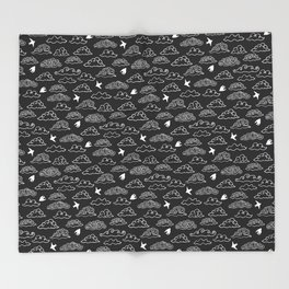 Black Doodle clouds and swallows. Cloudscape pattern with birds. Throw Blanket