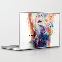 laptop Laptop & iPad Skins featuring this thing called art is really dangerous by agnes-cecile