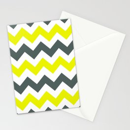 Chevron Pattern In Limelight Yellow Grey and White Stationery Cards