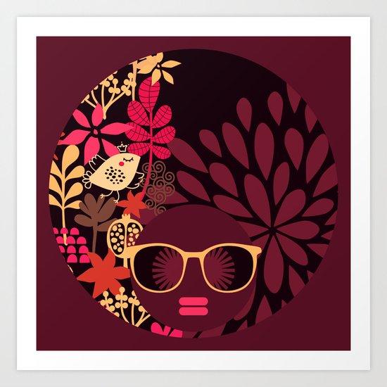 Afro Diva : Sophisticated Lady Deep Pink & Burgundy Art Print