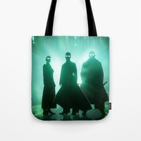 matrix Tote Bags featuring The Matrix by Mikko