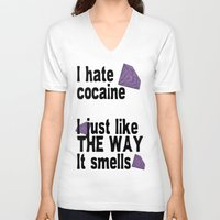cocaine V-neck T-shirts featuring I hate Cocaine #3 by John D'Amelio