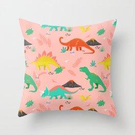 Jurassic Dinosaurs on Pink Throw Pillow