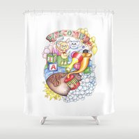 welcome Shower Curtains featuring Welcome! by Sofie Gillstedt