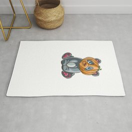 Panda Pumpkin, It's Show Time Funny Halloween Horror Scary Rug