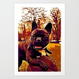 french bulldog basketball vector art late sunset Art Print