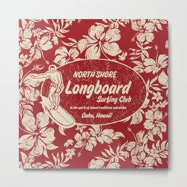 Club Surfing Longboard Surf Logo and Hibiscus Hawaiian Print      Metal Print