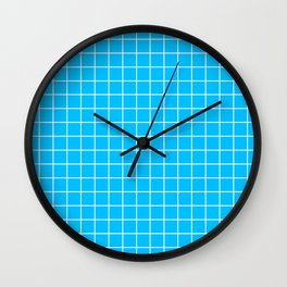 Deep sky blue - turquoise color - White Lines Grid Pattern Wall Clock