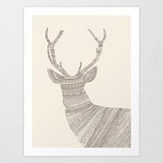 Stag / Deer (On Beige) Art Print
