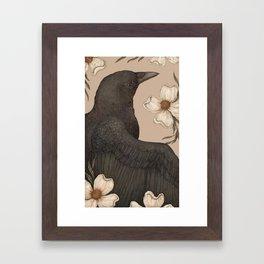 The Crow and Dogwoods Framed Art Print