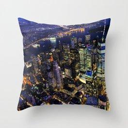 New York City, Manhattan, USA night cityscape Throw Pillow