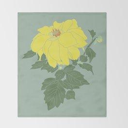 Yellow Dahlia Flower Illustrated Print Throw Blanket