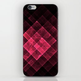 Red geometric fractal with many squares. iPhone Skin