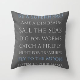 BE A SUPERHERO, blue and gray palette Throw Pillow