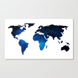 World Map Space Planet Blue Canvas Print