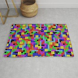 Tetris Inspired Retro Gaming Colourful Squares Rug