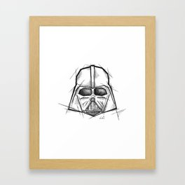 Darth Vader Handmade Drawing, Made in pencil, charcoal and ink, Tattoo Sketch, Tattoo Flash, Sketch Framed Art Print