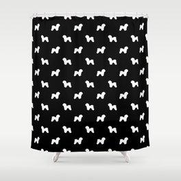 Bichon Frise dog pattern black and white minimal pet patterns dog breeds silhouette Shower Curtain