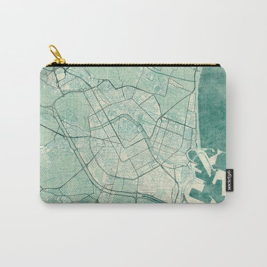 Valencia Map Blue Vintage Carry-All Pouch