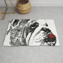 Bulldog Pop Art - How Bout A Kiss 2 - By Sharon Cummings Rug