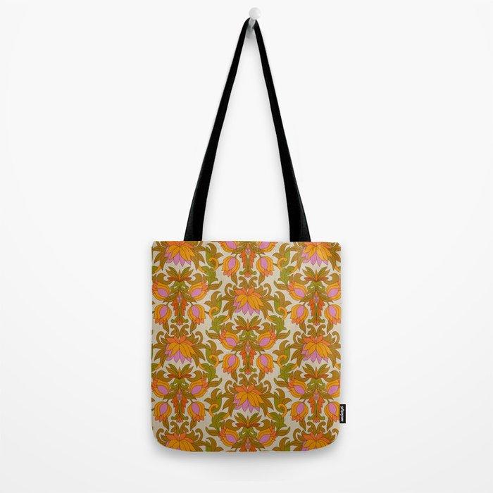 Orange, Pink Flowers and Green Leaves 1960s Retro Vintage Pattern Tote Bag
