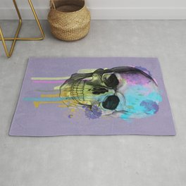 skull in purple and dripping  Rug