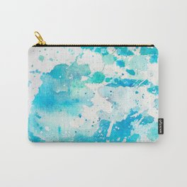 Hand painted teal turquoise ivory watercolor splatters Carry-All Pouch