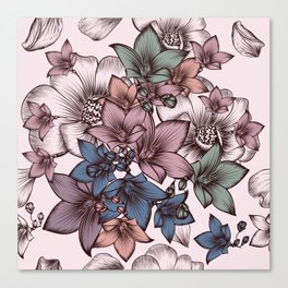 Beautiful pattern design with flowers in vintage style Canvas Print