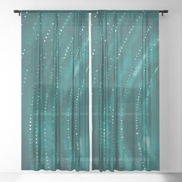 Hypnotic Abstract Dots Swirl in Green Background Sheer Curtain