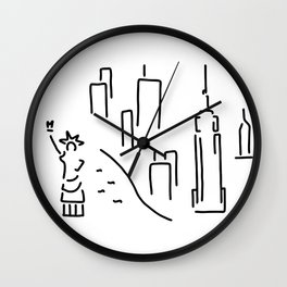 new York the Statue of Liberty skyscraper Wall Clock