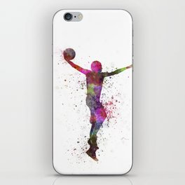young man basketball player dunking iPhone Skin