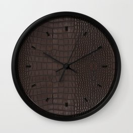 Alligator Brown Leather Print Wall Clock