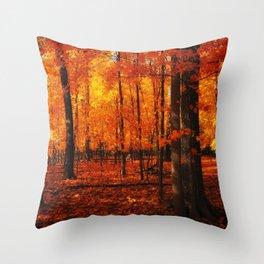 Fall Trees (orange) Throw Pillow