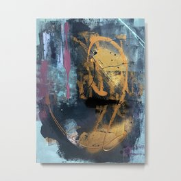 Melody: a vibrant, colorful abstract piece in blue, purple, gold, and black Metal Print