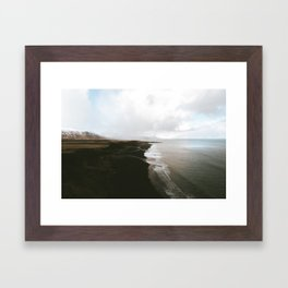 Moody black sand beach in Iceland - Landscape Photography Framed Art Print