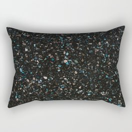 Terrazzo black with turquoise opaque Rectangular Pillow