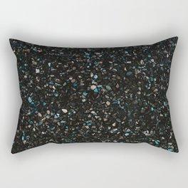 Terrazzo black with turquoise opaque Rectangular Pillow