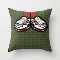 air jordan Throw Pillows featuring AIR JORDAN 4 by originalitypieces