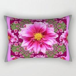Abstracted  Fuchsia Dahlias Geometric Stylized Floral Grey Garden Rectangular Pillow