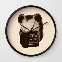 Hedgehog Book Don't Hurt The Ones You Love Wall Clock