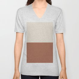 Earthy Horizon Inspired by Sherwin Williams Cavern Clay Sw 7701 and Creamy SW 7012 Unisex V-Neck