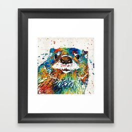Otter Art - Ottertude - By Sharon Cummings Framed Art Print