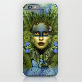 """Tropical green and indigo jungle Woman"" iPhone Case"