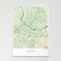 austin Stationery Cards featuring Austin Map Blue Vintage by City Art Posters