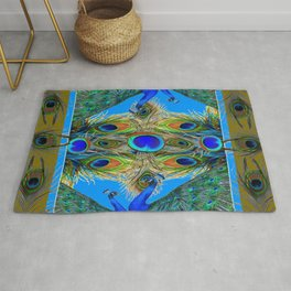 BLUE PEACOCKS KHAKI COLOR  FEATHER PATTERNS ART Rug