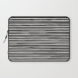 Skinny Stroke Horizontal Black on Off White Laptop Sleeve