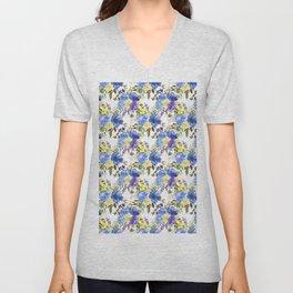 Elegant yellow purple blue watercolor botanical floral Unisex V-Neck