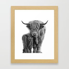 Highland Cow and The Baby Framed Art Print
