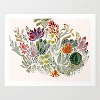 succulents Art Prints featuring Succulents  by Hannah Margaret Illustrations